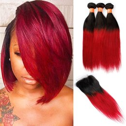 Brazilian Ombre Human Hair With Closure Black and Red Two Tone 3 Bundles Ombre Virgin Hair With Straight 4x4 Lace Closure 4Pcs Lot