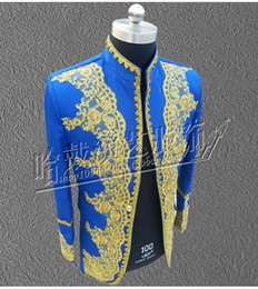 Wholesale Male nightclub singer costumes national palace with embroidered Chinese tunic suit the groom s best man clothing S xl