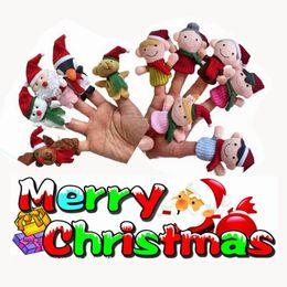 Bulk Plush Christmas Series Products Finger Puppets Kids Baby Plush Toys Talking Props Xmas family Christmas Santa Free Fedex UPS Ship
