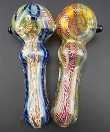 Wholesale New two colour glass smoking pipe Manufacture hand blown and beautifully handcrafted with spoon pipe quot height