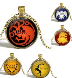 Wholesale Song Of Ice And Fire Game Of Thrones pendant necklace Targaryen Dragon long Necklaces Glass Cabochon Dome necklace movie