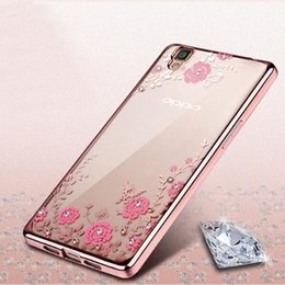 Wholesale Secret Garden Flowers Rhinestone Phone Cases Rose Gold Plating TPU Back Case Cover For OPPO A Sereis A59 A53 A51