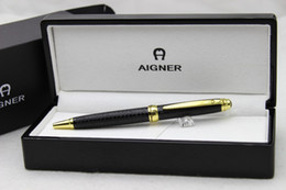 Free shipping ! ! Aigner Luxury Pen Black Golden Clip The Letter Carving Metal Ballpoint pen Black Wood Box