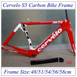 Wholesale Cervelo S5 Road Carbon Bike Frames UD Finish Glossy Road Bicycle Carbon Frames With BB Right Frame Seatpost Headset Clamp Fork
