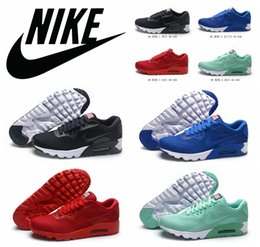 NIKE air max 90 USA flag Running Shoes all red New Original nike airmax sports Trainers shoes soft black white maxes 90 shoes size 40-45 cheap Red Nike ...