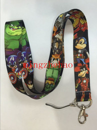 Wholesale 30Pcs Popular Cartoon Character Mickey Goofy Donald Duck Cosplay Avengers Style Strap Lanyard For ID Badge Cell Phone Key chain Great Gift