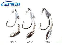 10pcs package Barbed Fishhook Crank hook 3 0# 4 0# 5 0# With Lead Single Hook Lead head hook soft worm soft bait fishing tack