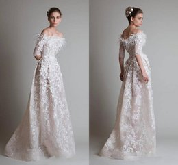 Krikor Jabotian 2016 Evening Dresses Sexy Off Shoulder Half Long Sleeve Lace Applique See Through Prom Dresses Floor Length Party Gowns