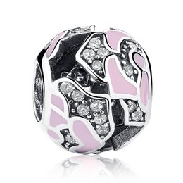 Authentic 925 Sterling Silver Charms with Pink Enamel & Clear Cubic Zirconia for DIY Beaded Charm Bracelets & Necklaces S359