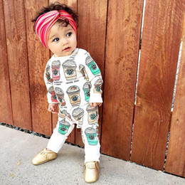 Wholesale INS babies romper spring summer Baby Girls Cute Coffee Cup Print Romper Infant Boys Cotton Clothing Sets Newborn Jumpsuits A8739