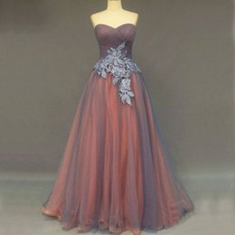 Vintage Prom Dresses Long Formal Evening Party Gowns Orange Grey A Line Ruched Tulle Lace Appliques Formal Wear Top Quality