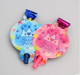 Blue Pink Crown blowout for birthday party festival supplies cheering props child kids toy noise masker whistle