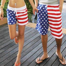 Wholesale-Fashion American flag printed lovers holiday pants beach wear couples loose board shorts quick-drying pant