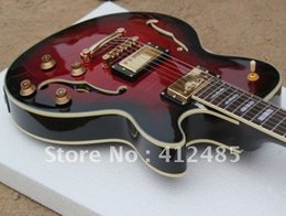 wholesale red JAZZ Semi Hollow electric guitar mahogany body free shipping