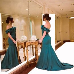 Wholesale Hot Sale Best Selling manches bouffantes Hunter vert sexy sirène Sofe satin Simple Cheap Femmes Robes de bal soirées Orenda Robes de bal