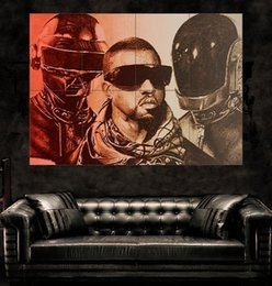 Daft Punk Red Kanye West heads portrait helmet retro Poster print wall art 8 parts giant huge Poster print art free shipping NO4-170