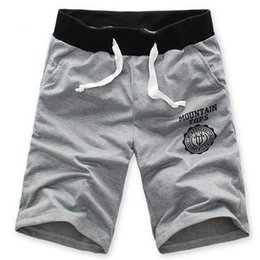 Wholesale-Male Leisure Trousers Mens Sport Dance Gym Fitness Letters Jogging Elastic Waist Shorts Half shorts Deep-Blue XL