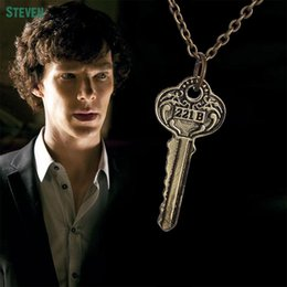 Wholesale-Hot Selling The Key To 221b Sherlock Necklace Pendants New Movies Jewelry Silver And Bronze Pendant For Men And Women Wholesale
