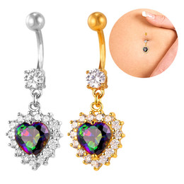 Fashion Women Body Jewelry with Cubic Zirconia Platinum 18K Real Gold Plated Heart Love Belly Button Rings