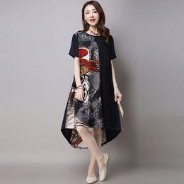 Wholesale Summer dresses Women clothes Vintage Crew neck Floral print Asymmetric combination Cotton linen Breathable comfortable Casual dresses