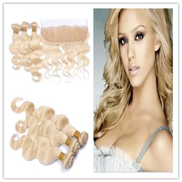 9A Russian Blonde Human Hair With 13x4 Lace Frontal Closure 4Pcs Lot #613 Blonde Virgin Russian Body Wave 3Bundles With 1Pc Frontal