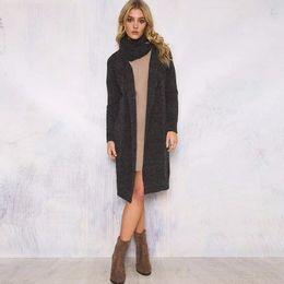2017 noir cardigan tricoté Mode Femmes Foulard Woollen Cardigan long hiver 2016 Main Tricot Longue Sleeve Open Point Femme Solide Couleur Noir Pulls Manteaux budget noir cardigan tricoté