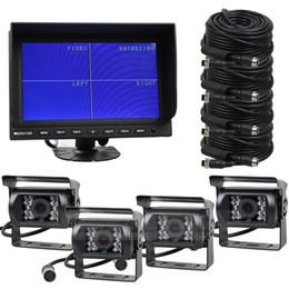 Quad lcd en Ligne-9 pouces QUAD Car Moniteur de voiture + 4 x CCD IR vision nocturne caméra de vision arrière imperméable à l'eau pour camion de voiture de camion inverser la caméra