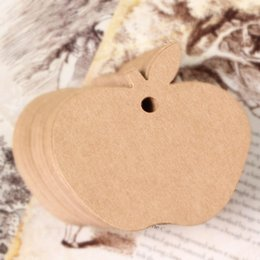 Wholesale New Diy Cm Coffee White Favor Apple Shape Paper Hang Tags Wedding Gift Label Cards