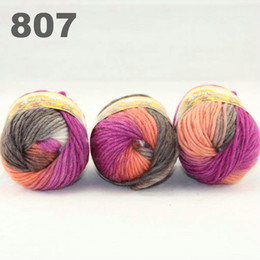 colorful hand-knitted wool line segment dyed coarse lines fancy knitting hats scarves thick line Brown Orange White 522-807