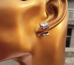 Wholesale Square Princess Cut Simulated Lab CZ Stud White gold Earrings Women mm gift