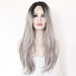 2017 resistente para el cabello de calor 2 tonos sintético frente de encaje peluca gris gris plata Ombre mano atada pelucas onduladas rojas oscuras pelo resistente a la fibra de pelo resistente para el cabello de calor en venta