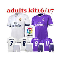 Wholesale New r al madrid kit Soccer Jersey RONALDO home away JAMES BALE BENZEMA MODRIC thai quality football shirt soccer jersey