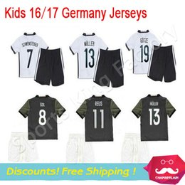 Wholesale kids Germany football shirts home away grey soccer uniforms kit OZIL REUS MULLER SCHWEINSTEIGER alemanha child shirts sets free shippi