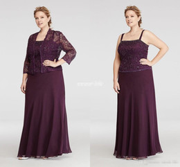Wholesale Plus Size Burgundy Chiffon Mother Of Bride Dresses With Jacket Vintage Lace Sequined Women Formal Evening Wears Special Occasion Gowns