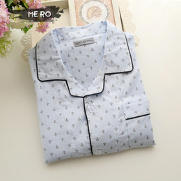 Wholesale-2016 New Navy style Korean men's pajamas sets, free shipping white cotton anchor printing home sleepwear for men, tracksuits