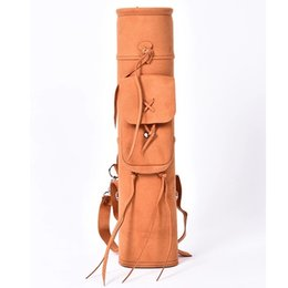 Wholesale Free shopping1pcs backpack arrow quiver for holding arrows suede leather arrow bag holder High quality fashion arrow bag very useful