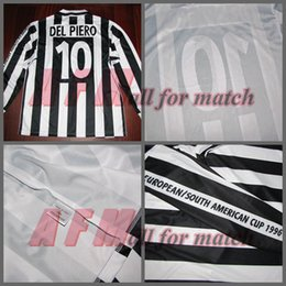 Wholesale European South American Cup JU Match Worn Player Issue Shirt Jersey Long sleeves Del Piero Football Rugby Custom Patches Sponsor