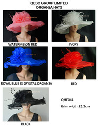 NEW Wide brim 15.5cm.Organza Hat with feathers for derby,Church,wedding,races,red,ivory,black,watermelon.