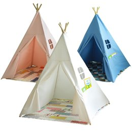 new Four Poles Children Teepees Kids Play Indian Tent Cotton Canvas Teepee White Playhouse for Baby Room Tipi ems fedex free ship