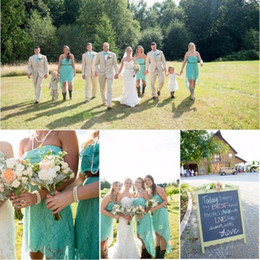 Country Wedding Hi-Lo Lace Bridesmaid Dresses High Low Short Turquoise Bridesmaid Dress Country Farm Wedding Party Dresses Strapless Gowns