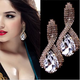 Wholesale Gold Plated Water Drop Crystal Long Earrings Pending White Rhinestone Big Hanging Earrings Female Wedding Jewelry