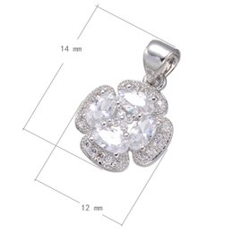 DIY Handbag Charms Large Zircon Flower CZ Micro Inlay Brass Pendant Platinum Plated 12x14mm Hole:About 3.4mm 10 PCS Lot Free Shipping