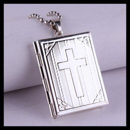 Wholesale Hot Sale Fashion Sterling Silver Plated Bible Cross Magic Box Locket Pendant Necklaces With Beads Chain