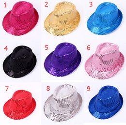 9 color Sequin adult   children hats spring summer stage Cosplay Jazz cap Hats Fashion lady kids Street Headwear caps