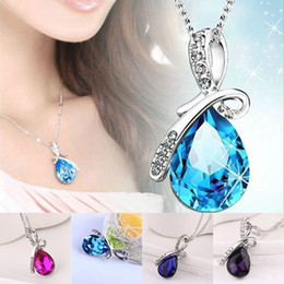 Wholesale 2016 hot sale pc Fashion Jewelry Womens Crystal Angel Tears Drop Water Pendant Necklace angel tear drop pendant