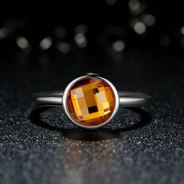 Poetic Droplet Genuine 925 Sterling Silver Rings with Citrine Yellow Crystal Stone Elegant Promise Engagement Wedding Rings for Women R067