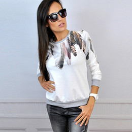 Woman Tracksuit Feather Casual Crewneck Top Blouse Pullover Jumper Outwear Lady Girls Shirt S M L XL