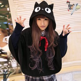 Wholesale Cute Cat Anime - Wholesale-Japanese Miyazaki Hayao Anime Kiki's Delivery Service Black Cat Jiji Costume kawaii Hooded Hoodie Cosplay halloween cute Cloak
