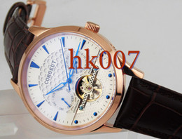 1591 Corgeut 44mm Rose Gold Case White Dial Blue Hands Date Day Men's Stainless Steel Automatic Watch