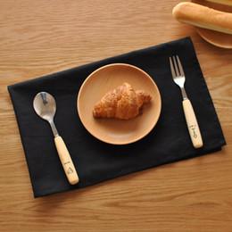Wholesale Japanese Style Table Napkin Black Cotton Linen cm Rectangle Placemat Tea Cloth Home Textiles Classics Dinner Cloth MOQ Piece